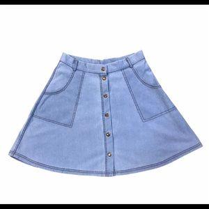 Iris Front Snap Skater Stretch Denim Circle Skirt